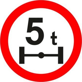 Naklejka B-19 zakaz wjazdu pojazdów o nacisku osi większym niż określono na znaku (tu- 5t)