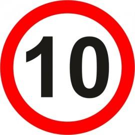 Naklejka znak zakazu B-33-10 ograniczenie prędkości (tu 10 km)
