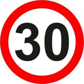 Naklejka znak zakazu  B-33-30 ograniczenie prędkości (tu 30 km)