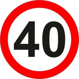 Naklejka znak zakazu  B-33-40 ograniczenie prędkości (tu 40 km)