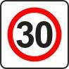 Naklejka znak zakazu B-43 strefa ograniczonej prędkości (tu 30 km)