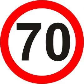 Naklejka znak zakazu B-33-70 ograniczenie prędkości (tu 70 km)