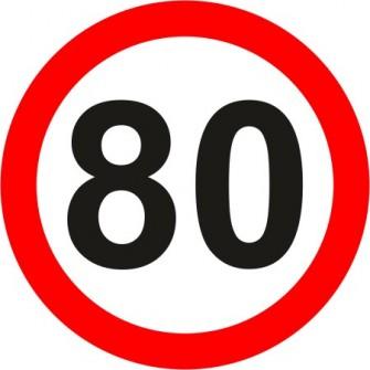 Naklejka znak zakazu B-33-80 ograniczenie prędkości (tu 80 km)