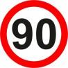 Naklejka znak zakazu B-33-90 ograniczenie prędkości (tu 90 km)