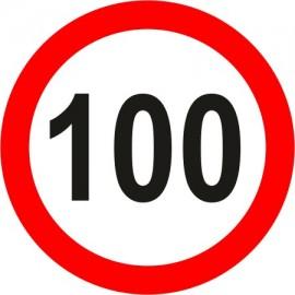 Naklejka znak zakazu B-33-100 ograniczenie prędkości (tu 100 km)