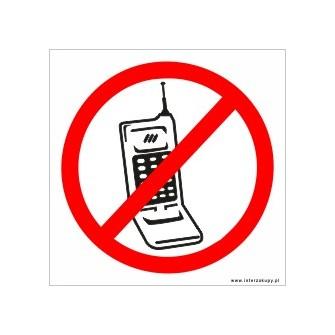 naklejka zakaz rozmawiania przez telefon 001 biały telefon