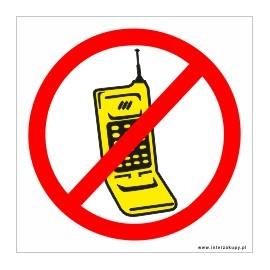 naklejka zakaz rozmawiania przez telefon 002 żółty telefon