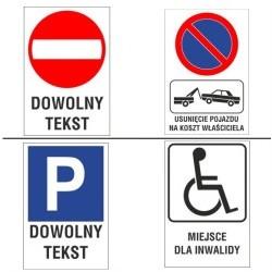"""Naklejka """"znak drogowy"""" z dodatkowym tekstem"""
