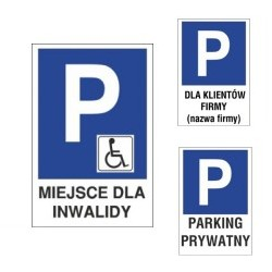Oznaczenia parkingów z tekstem
